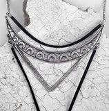 Boho Black Leather Alloy Choker Necklace - Indigo-Temple