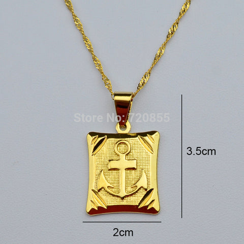 Cameron -Anchor Pendant & Necklaces ,18k Yellow Gold Plated