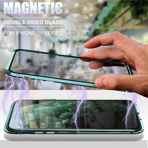 360 Degrees Tempered-Glass Magnetic Phone Case for iPhone