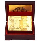 24K  Gold Foil Plated Cards With a Wooden Box