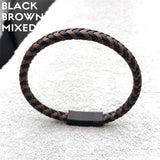 DarkO -Two-color Mixed Braid Genuine Leather Bracelet