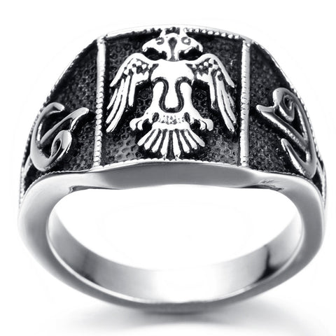 Mens Stainless Steel Army Eagle Ring - Indigo-Temple