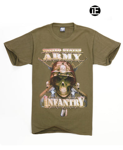 ARMY SKULL-  Man T-Shirt Short Sleeve O Neck Cotton