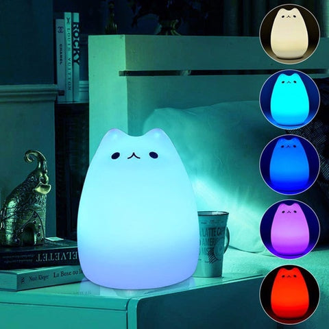 Rechargeable 7 Color Soft Touch LED Cat Night Light - Indigo-Temple