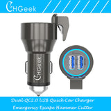 Fast Dual Car Charger With Escape Hammer & Belt Cutter