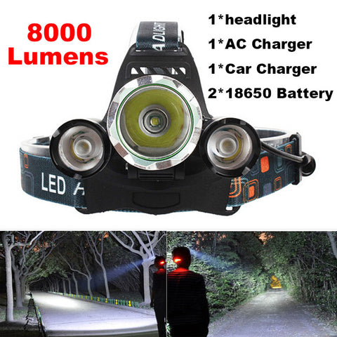 4-mode 8000Lm  LED Headlamp Set - Indigo-Temple