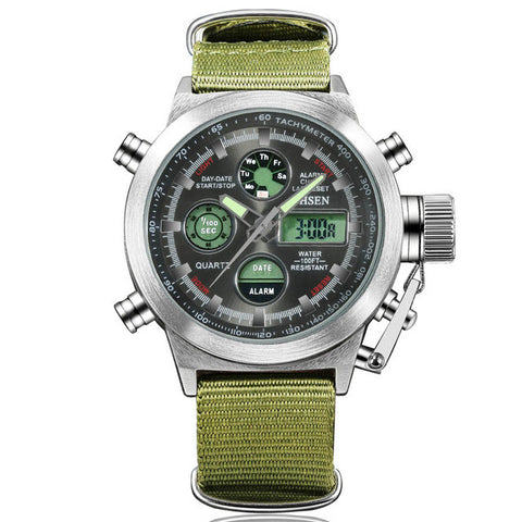 Digital Canvas Strap Army Watch