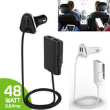4 Ports 48W Passenger Car Charger with Extension Cable - Indigo-Temple