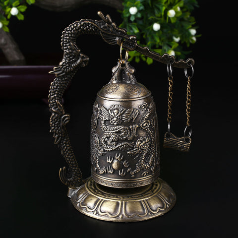 Tibetan Bronze Carved Dragon Buddhist Bell