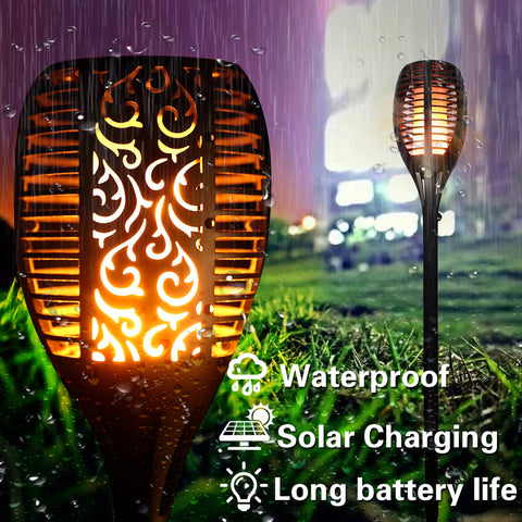 Outdoor LED Solar Waterproof Flame Torch Light