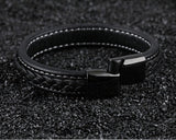 SAMU - Stainless Steel Magnetic Clasps Black Leather Bracelet