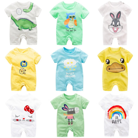 Adorable Short Sleeved Baby Bodysuit With A Cartoon Print