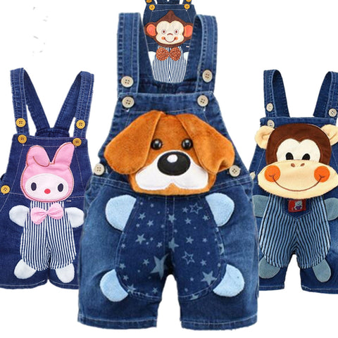 Baby Jeans Overall With Cute Animal Face