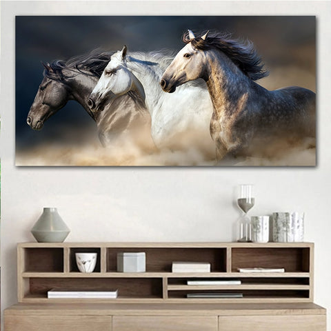 Running Horses Canvas Wall Art - Indigo-Temple