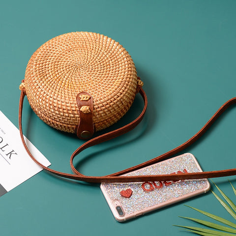 Tropical Hand-Woven Straw Purses - Indigo-Temple