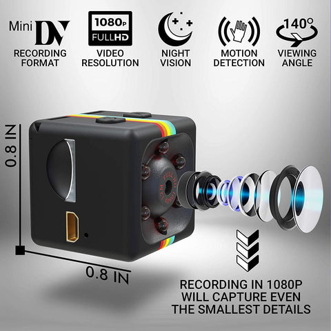 Full-HD Mini Spy Camera with Motion Detection - Indigo-Temple