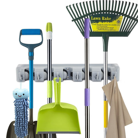 Universal Mop / Broom Wall Storage Rack - Indigo-Temple