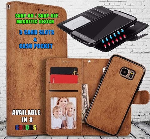 2-IN-1 PU-Leather Magnetic Phone Flip Case / Wallet
