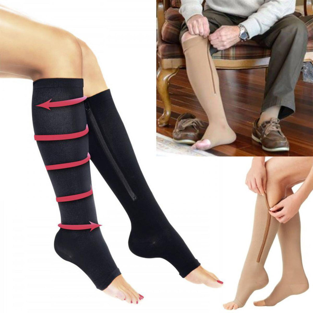 9a85307664 Open-Toe Pain Relief Zip-Up Compression Socks – Indigo-Temple