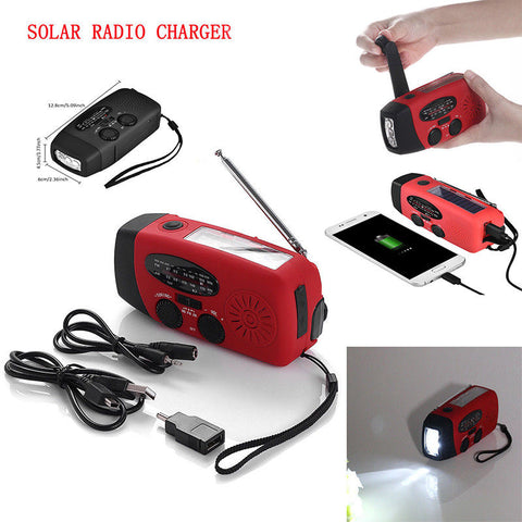 3-in-1 Emergency Radio/Torch/Power-Supply (Hand-Crank/Solar/Rechargeable)