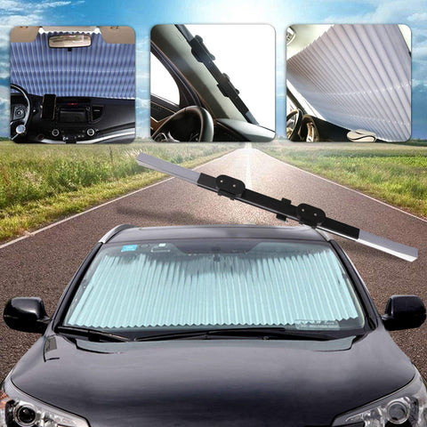 Anti-UV Retractable Windshield Heat Guard - Indigo-Temple