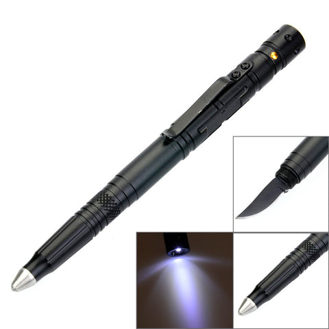 Tactical Pen With Glass Breaker/Knife/ Flashlight - Indigo-Temple