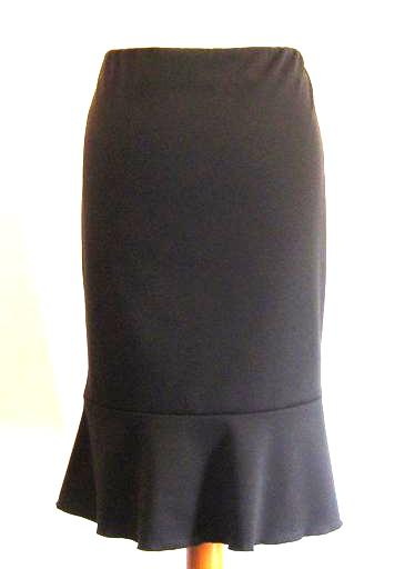 A Classic Black Skirt - Shaped, Flared Panelled Hem, Stretch Skirt