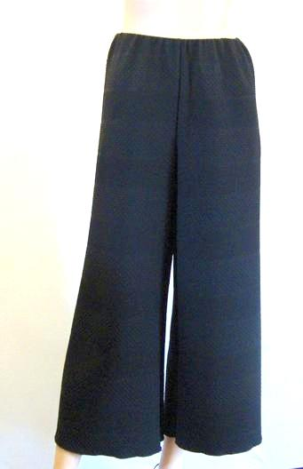 Textured Stretch Wide Leg Crop Trousers