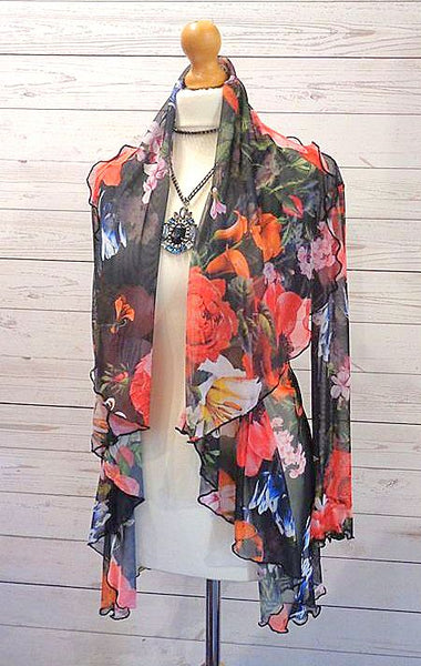 Stretch Mesh Botanical Print Jacket