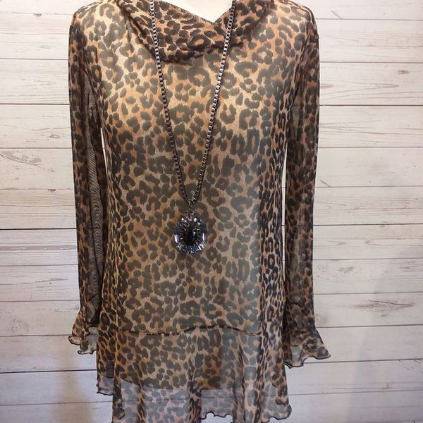 Floaty Sheer Stretch Mesh Print Tunic/Top