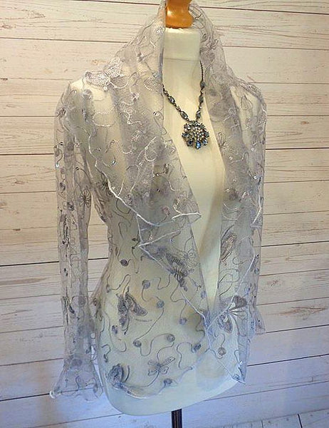 Butterfly Embroidered Sequin Stretch Tulle Jacket