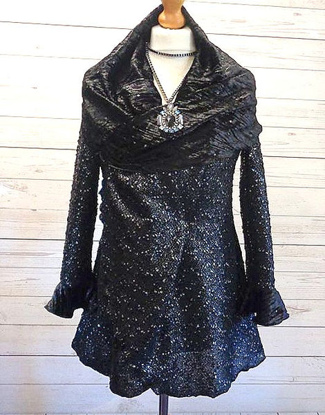 Velvet Trim Sparkle Knit Boucle Jacket