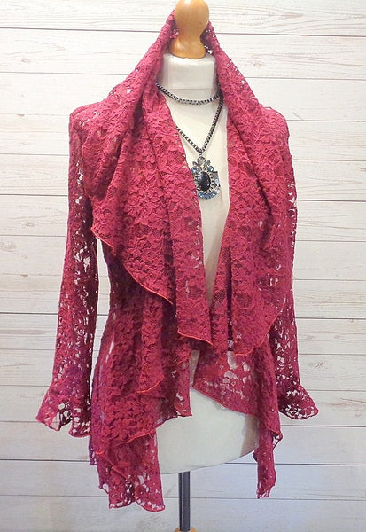 Textured Lace Wrap Jacket