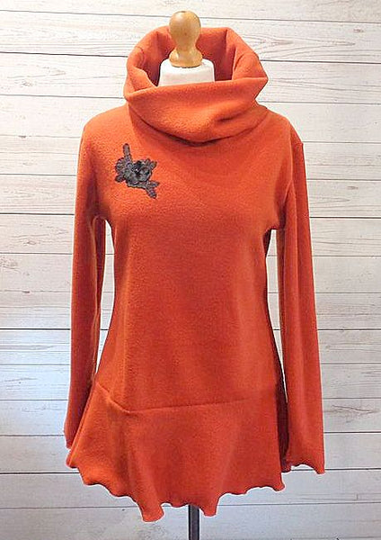 Luxury Designer Fleece Embroidered Tunic Top