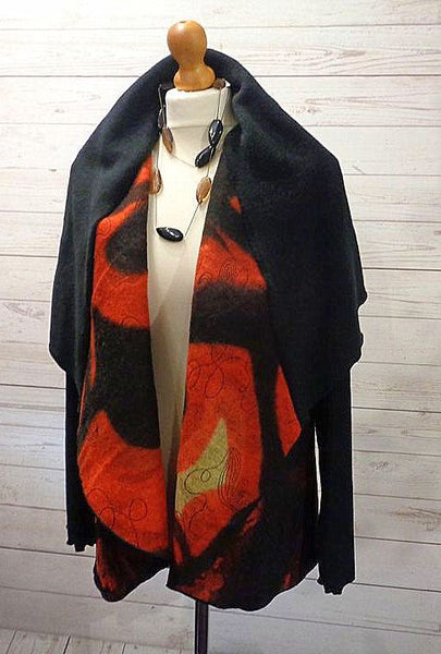 Felted Wool Blend Net Overlay Jacket