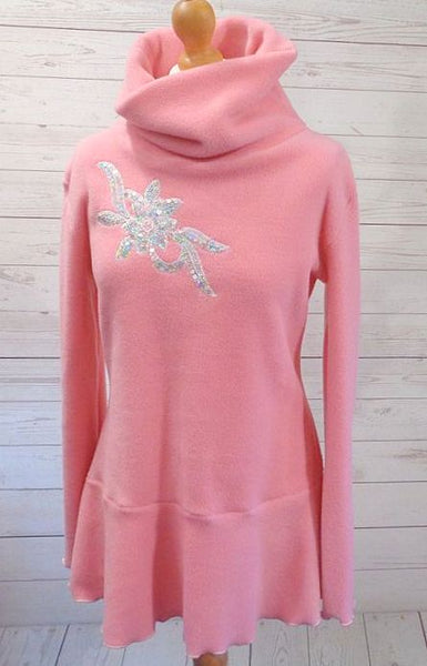 Luxury Designer Fleece Sparkle Embroidered Tunic Top