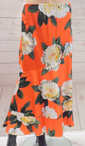Stretch Cotton Botanical Print Skirt