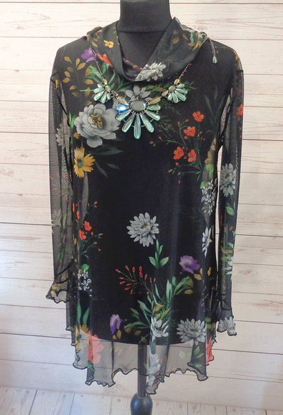 Floaty Stretch Mesh Sheer Floral Print Tunic Top