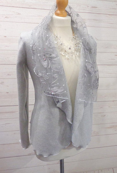 Luxury Fleece And Sequin Embroidered Tulle Wrap Jacket/Cardi