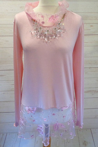 Stretch Jersey Tunic Top With Sparkle Tulle Hem