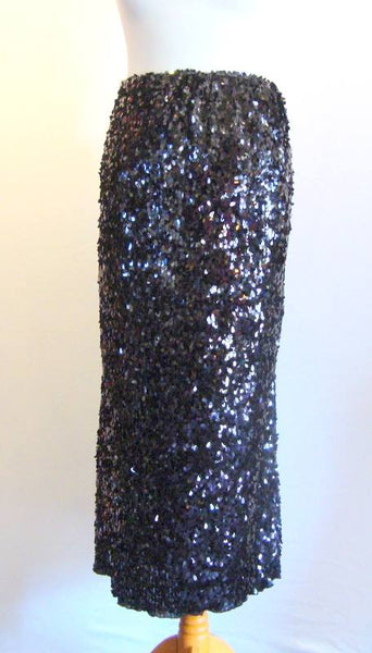 Black Sequinned Long Stretch Skirt