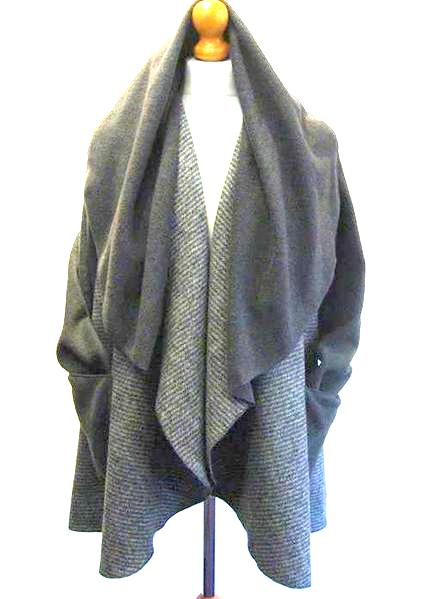 Pure Wool Blend Grey Tweed Wrap 3/4 Jacket
