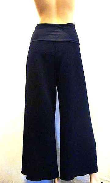Deep Waist Wide Leg Crop Trousers