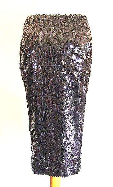 Black Sequinned Pencil Skirt