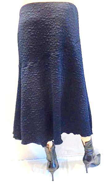Embossed Navy A Line Skirt