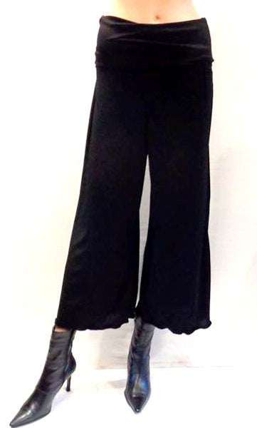 Deep Waist Stretch Jersey Wide Leg Crop Trousers
