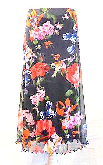 Stretch Mesh Fully Lined Botanical Print Skirt