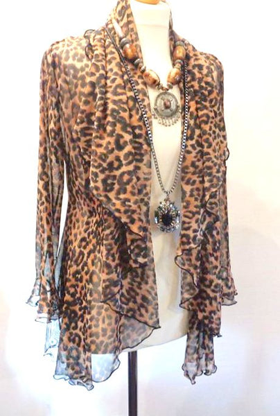 Stretch Mesh Animal Print Jacket