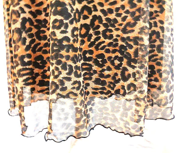 Stretch Mesh Fully Lined Animal Print Skirt