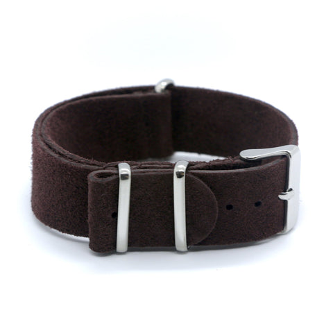 Suede nato watch strap dark brown